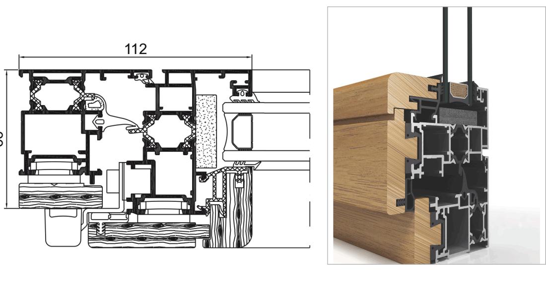 Carpintería de aluminio revestido de madera